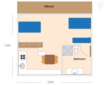 Upstairs Travellers Unit floor plan